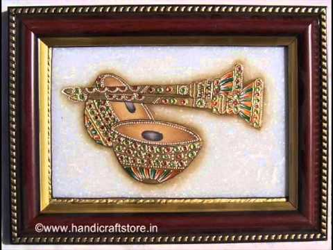 Indian Traditional Musical Instrument Painting On Marble