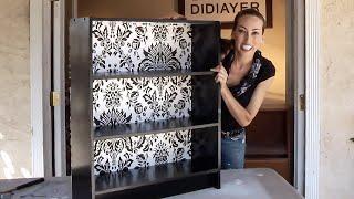 DIY Wallpaper Bookshelf Upcycle