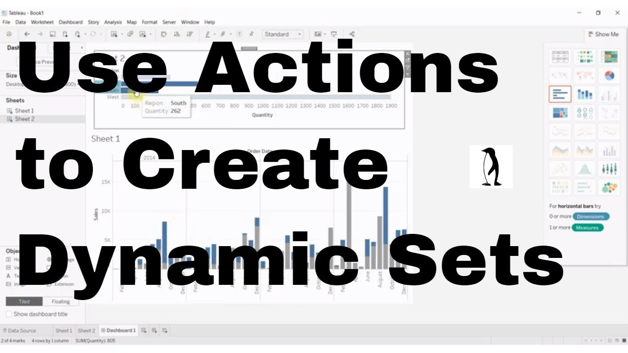 How To Use Set Actions To Create Dynamic Sets Tableau In Two Minutes Youtube