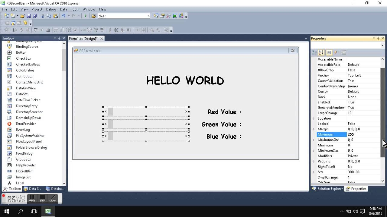 ScrollBars in C#