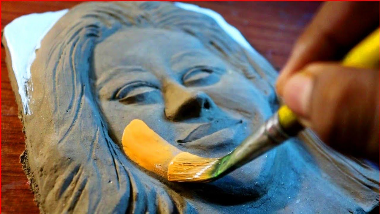 Colouring Clay Sculpture .. For your Request. Relief Sculpture Portrait Painting / #relief #Art