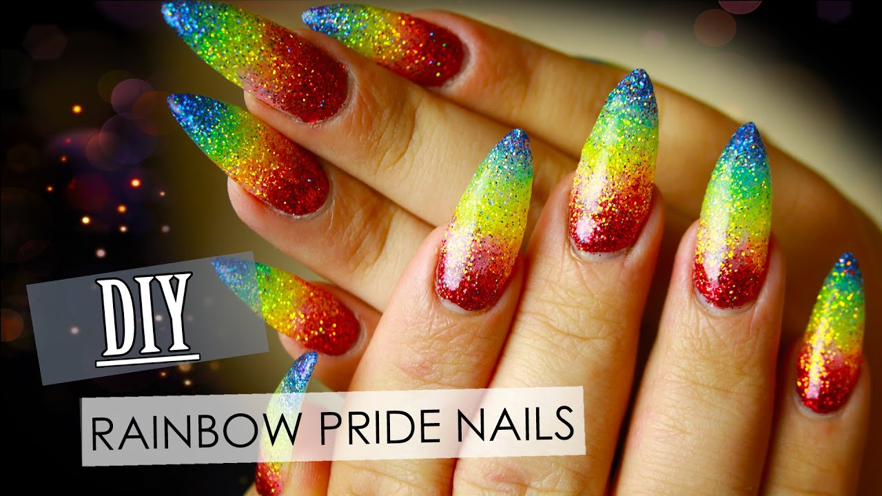 Gay Pride Rainbow UV Nails | Electra Snow - YouTube