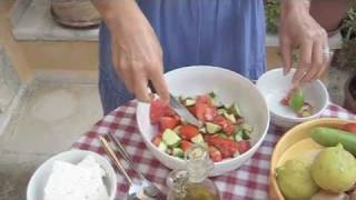 Authentic Greek Salad - Filmed on the Island of Crete with Sue Radd