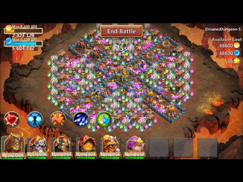 New Insane Dungeon 5-10 Castle Clash 3 Flamed FINAL Dungeon