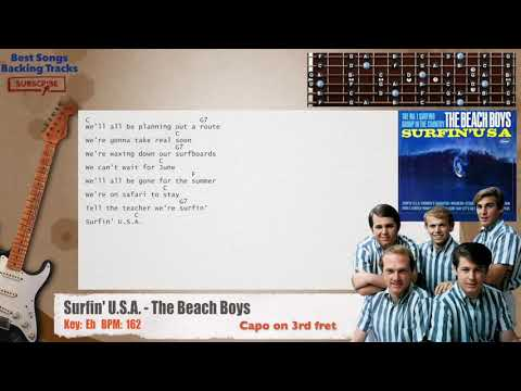 Surfin' U.S.A. - The Beach Boys Guitar CAPO Backing Track with chords and lyrics