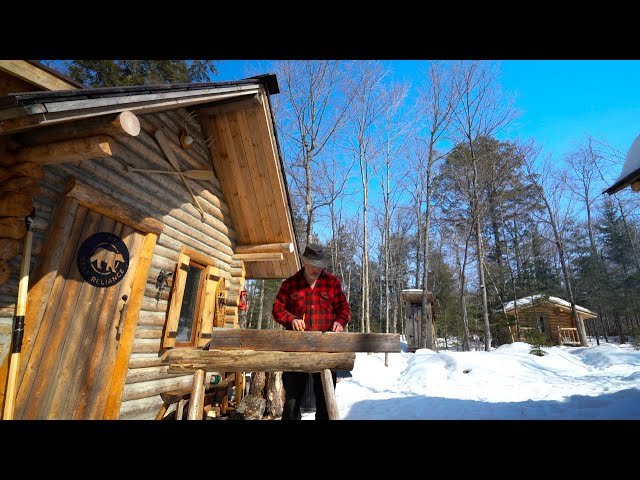 Off Grid Cabin, Timber Framing and Canoeing in the Snow