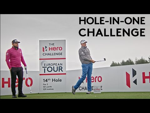 Ian Poulter & Tyrrell Hatton try to make a hole-in-one with 50 balls | Hero Challenge