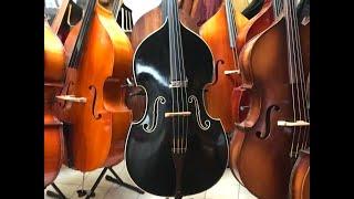 3/4 Kontrabass, vollmassiv mit weißem Kunststoffbinding, Musik Klein Meisterwerkstätte 1957