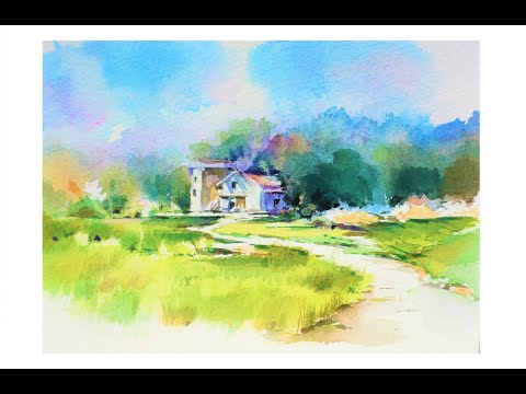 수채화 풍경 그리기 ,水彩画, Watercolor Landscape painting ,