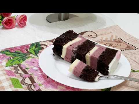 """Торт """"Феерия"""" - шоколадные коржи, черносмородиновый мусс, лимонное кремю"""