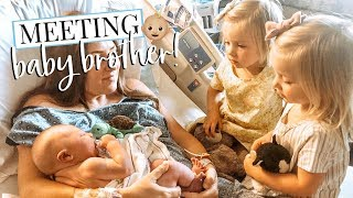 Our Twin Girls Meeting Baby Brother For The 1st Time  Kendra Atkins