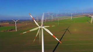 Wind farm Zerbst with 3x ENO, 2x GE, 3x E70, 1x E 92 and 14x Siemens wind turbines from the air