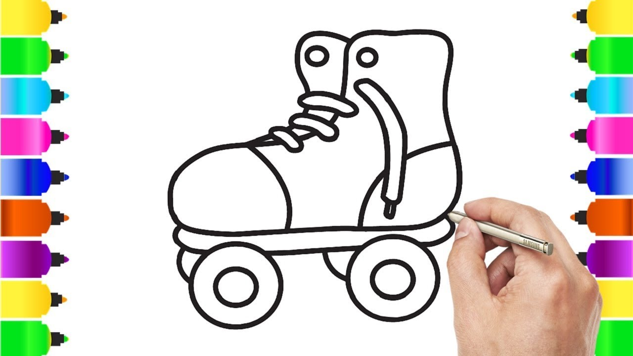 How to draw roller skates for kids coloring pages drawing videos