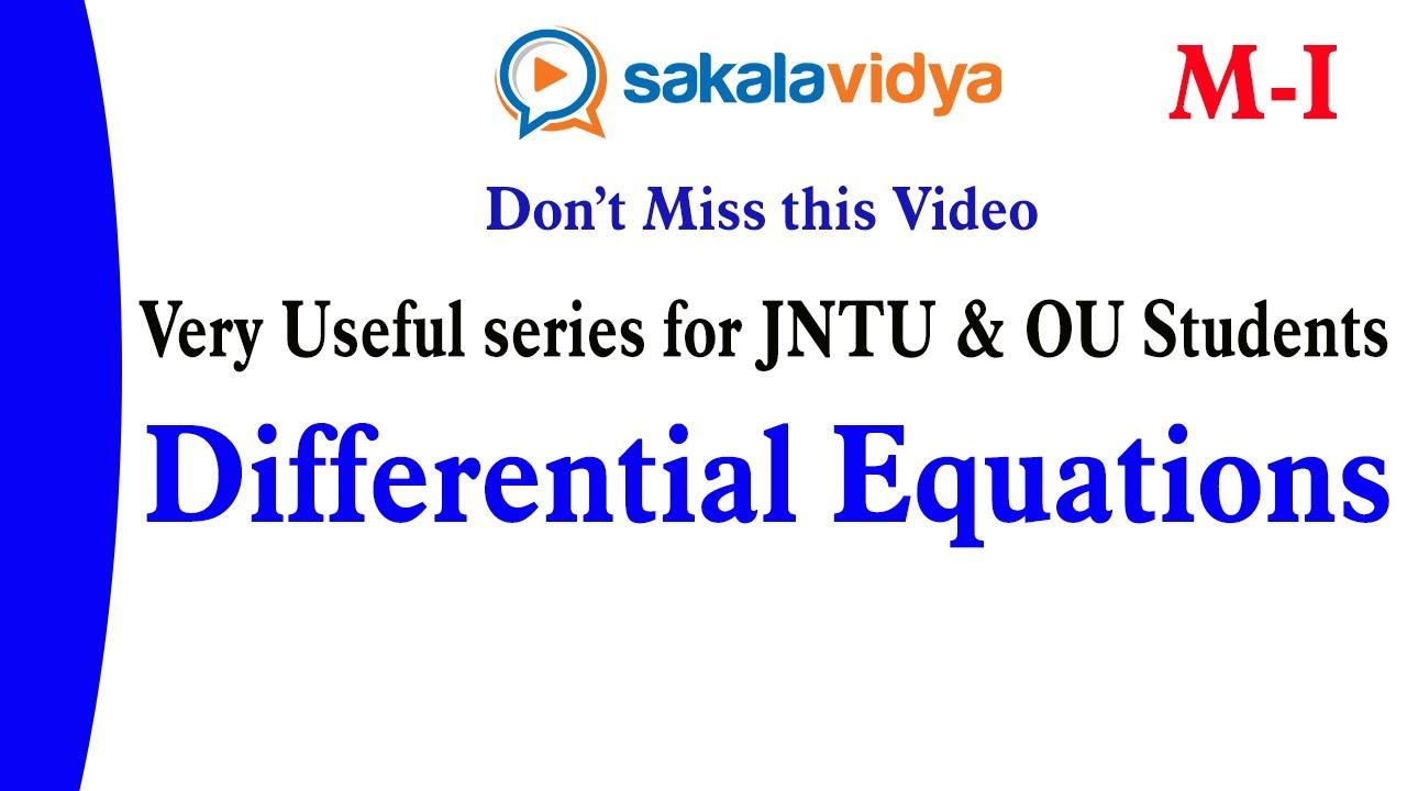 JNTU/OU  M1  SEM II   B.Tech/B.E/ B.Sc  Differentialequations(BERNOULLI'S ) pgt&tgt  #04  #MURTHYSIR