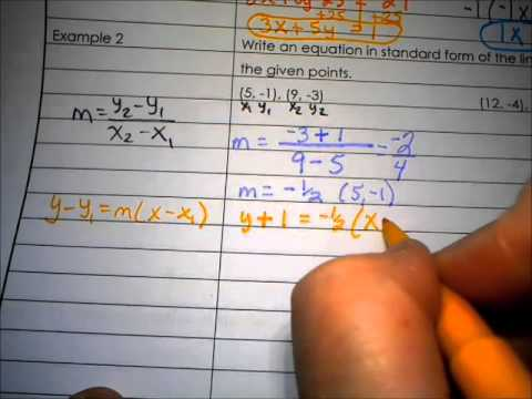 Algebra 1 Notes 26 Writing Linear Equations In Standard Form Youtube
