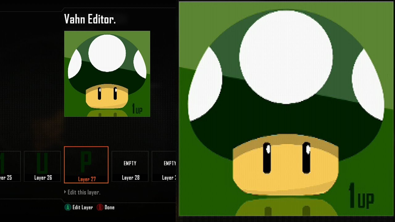 Call Of Duty Black Ops 2 Emblem Tutorial Best Green 1 Up Mushroom