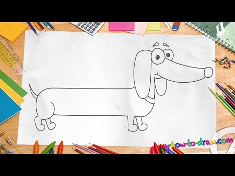 How to draw a Daschund - Easy step-by-step drawing lessons for kids