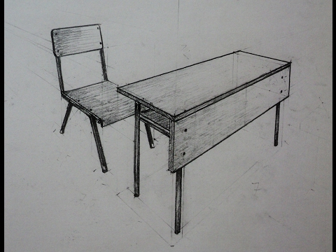 How to draw - school desk with chair - Two point ...