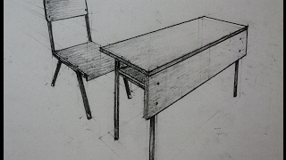 How to draw - school desk with chair - Two point perspective