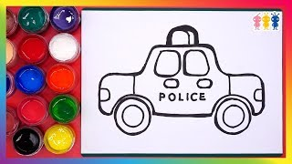 Police car coloring and drawing☆How To Draw,Paint&Color☆POYOPOYO