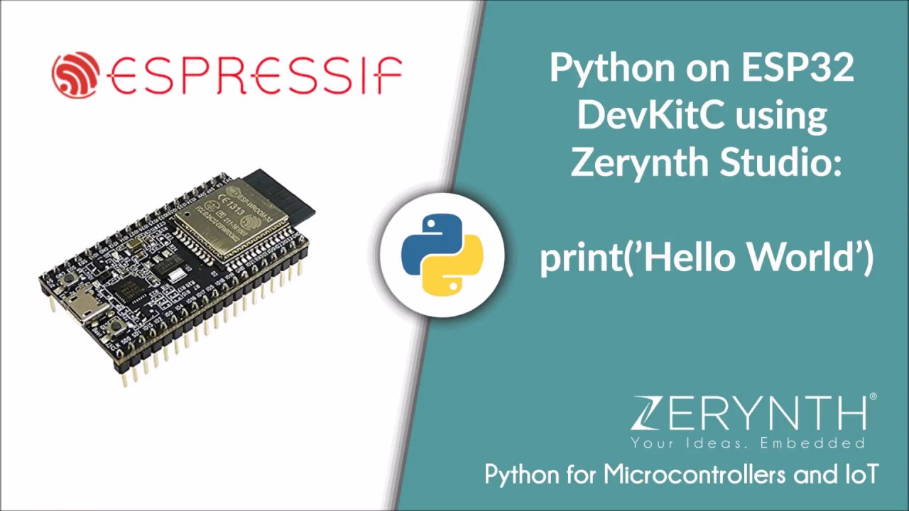 Python on ESP32 DevKitC using Zerynth Studio - Hello World