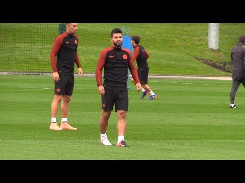 Manchester City Players Train Ahead Of Champions League Match Against Borussia Monchengladbach