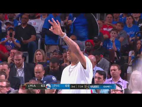 Allen Iverson Calls Play for The Sixers Team in Courtside! Macro Belinelli hits a tough 3! (2018)