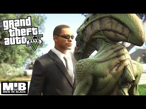 GTA 5 - MIB Agent J fights Aliens (GTA5 Mods)!!