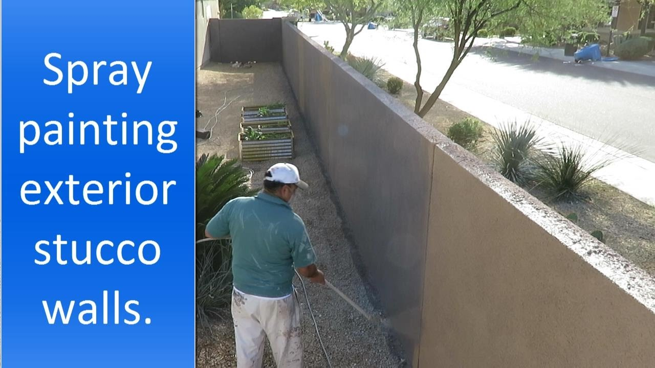 Spray painting exterior stucco walls youtube - Exterior house painting cost per square foot ...