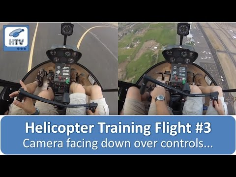 Helicopter Training Flight # 3 - Camera facing down over controls - pickup/setdown, hover & patterns