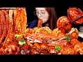 ASMR (COOKING) SPICY SEAFOOD AND MUSHROOMS. MUKBANG | bokyoung 해물찜먹방, 전복,꽃게,새우,오징어,가리비,팽이버섯