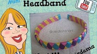 Repeat youtube video Como hacer un Cintillo de 4 Cintas - How to make a headband | Creations Nani