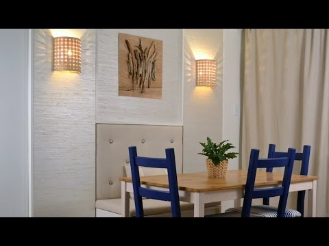 Dining room makeover: DIY wall décor with wall panels ... on Living Room Wall Sconce Ideas For Dining Area id=23323
