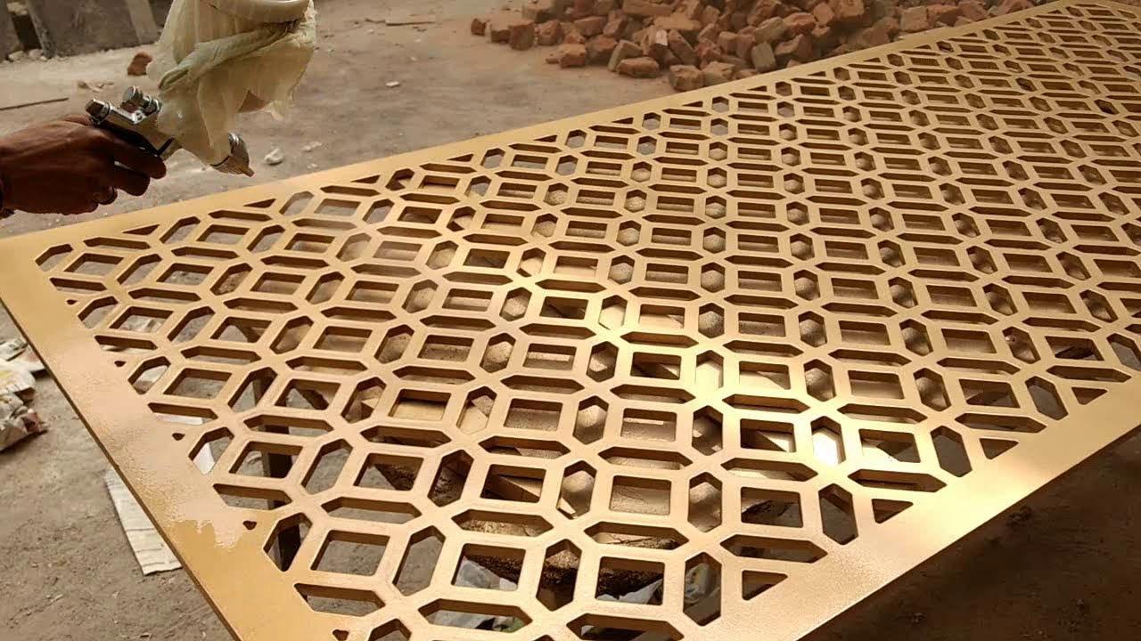 golden pu paint on mdf jaali youtube. Black Bedroom Furniture Sets. Home Design Ideas