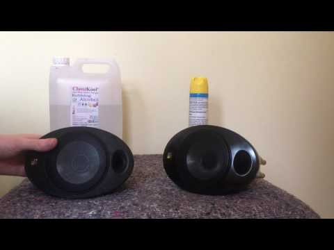 How to clean off the sticky coating on KEF egg speakers
