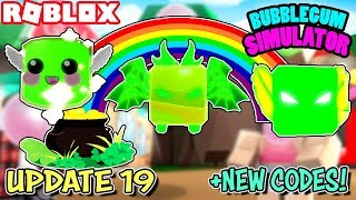 *NEW CODES* UPDATE 19 IN BUBBLGUM SIMULATOR (Roblox) | St.Patrick's Day Event with Lucky Egg & More!
