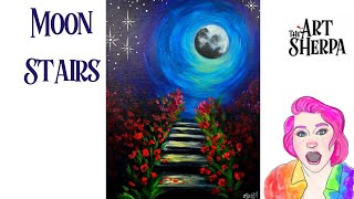 How to paint easy moonlight Stairs Live streaming Step by Step Tutorial    TheArtSherpa
