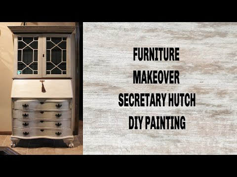 FURNITURE MAKEOVER | DIY PAINTING | FRENCH FARMHOUSE STYLE | SECRETARY HUTCH|