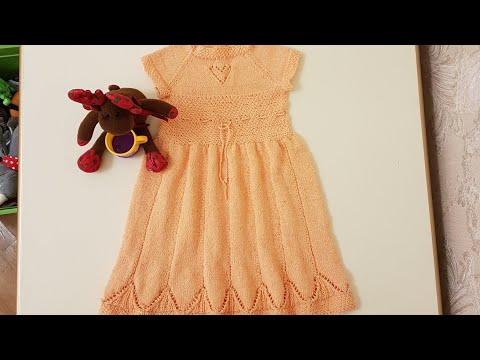 Детское платье спицами  из хлопка