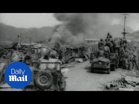 US troops march towards Pyongyang during the Korean War - Daily Mail