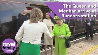 Queen and Meghan, Duchess of Sussex arrive at Runcorn station and visit Widnes