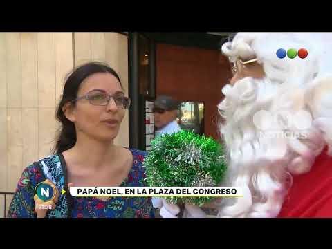 Papa Noel en la plaza del Congreso - Telefe Noticias