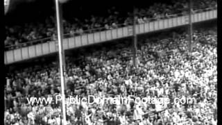 Yankees and Reds in 1961 World Series - DiMaggio first pitch public domain archival footage newsreel