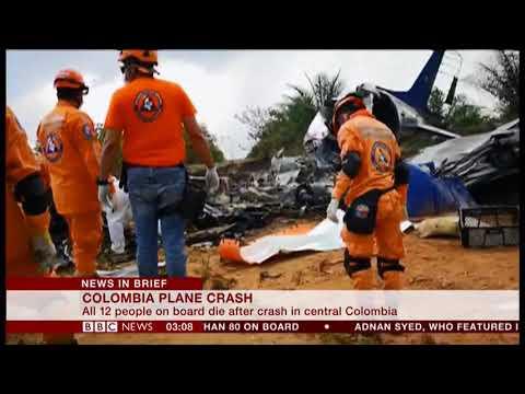 Plane crash kills 12 (Colombia) - BBC News - 10th March 2019