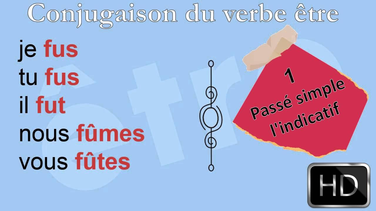La Conjugaison Le Verbe Etre Passe Simple L Indicatif Hd Youtube