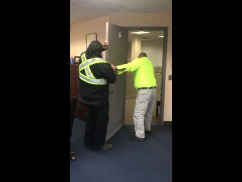 "Newly-elected Montvale Mayor Michael Ghassali has DPW workers remove the door from his office in alignment with his ""open door policy."""