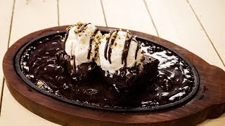 Sizzling Brownie Recipe - Sizzler Chocolate Dessert -  CookingShooking