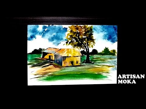How To Draw Simple Natural Village Scenery For Kids | Village Scenery Painting