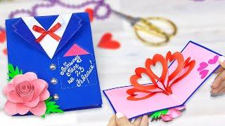 Открытка на 23 февраля своими руками подарок Папе в День Защитника Отечества DIY