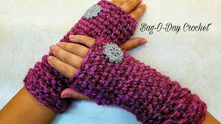 "How to Crochet Easy ""Wooly Warm Wristers"" Fingerless Gloves Unisex Crochet TUTORIAL #408"
